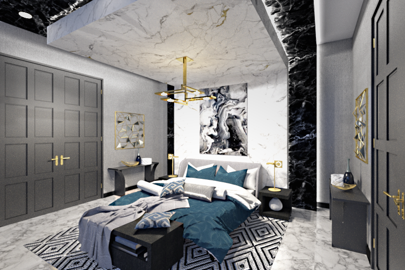 Master Bedroom With Private Lounge - 3Ds Max ART
