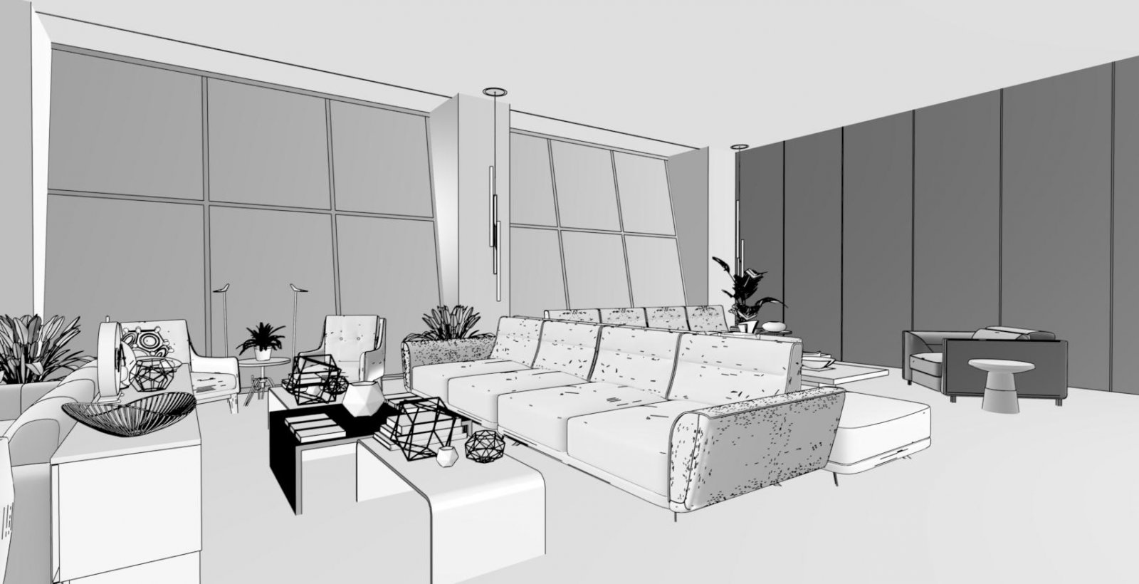Interior Living Area - Tech B&W