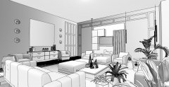 Interior Living Space - Tech B&W