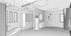 Retro Bathroom - Technical Perspective View B&W