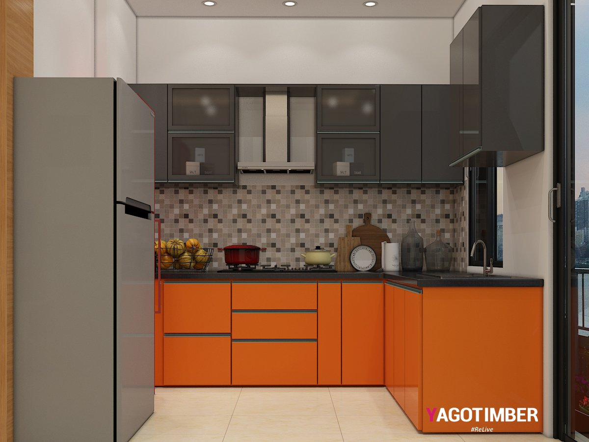 Get L Shaped Kitchen Design in Orange Color in Delhi NCR - Yagotimber