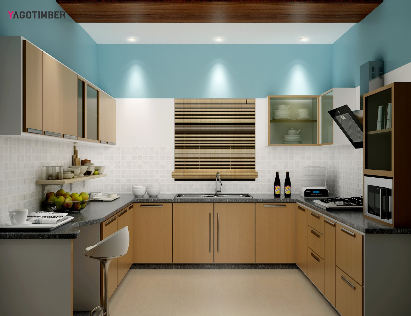 Get U Shaped Kitchen Design in Turqouise Color in Delhi NCR - Yagotimber