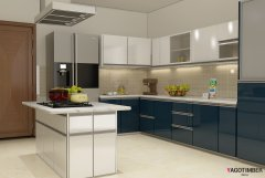 Get Island Kitchen Design in Turqouise Color in Delhi NCR - Yagotimber