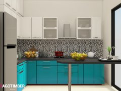 Get L Shaped Kitchen Design in Turqouise Color in Delhi NCR - Yagotimber
