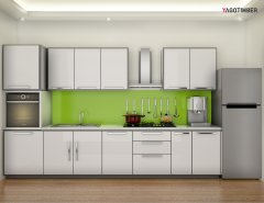 Get Straight Kitchen Design in Turqouise Color in Delhi NCR - Yagotimber
