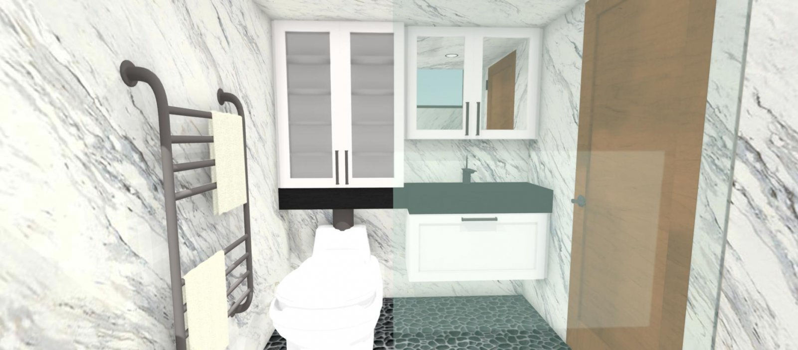 Bathroom with incinerator toilet