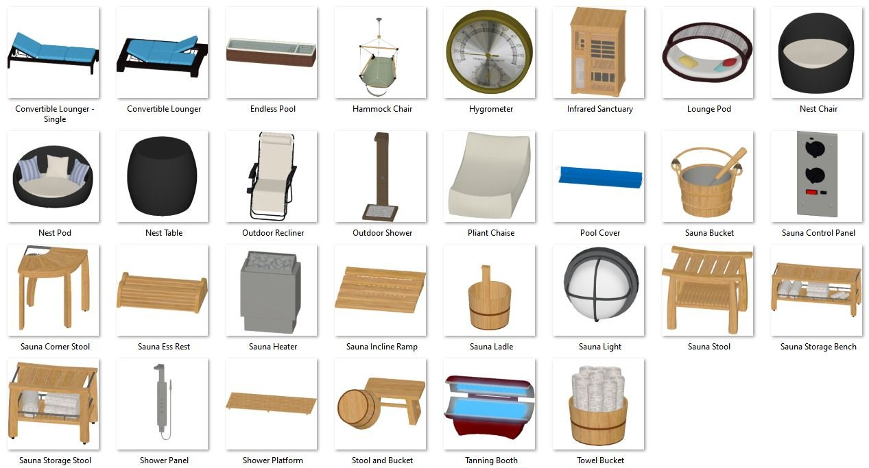 3D Models for Sauna and Pool Accessories