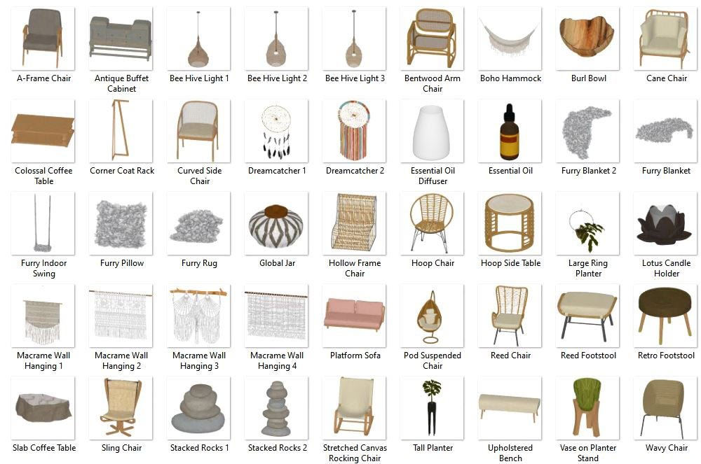 Boho Style 3D Objects