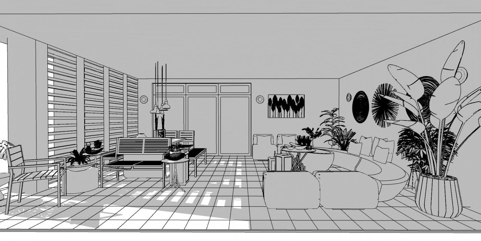 Exterior Living - Vector B&W+Shadow