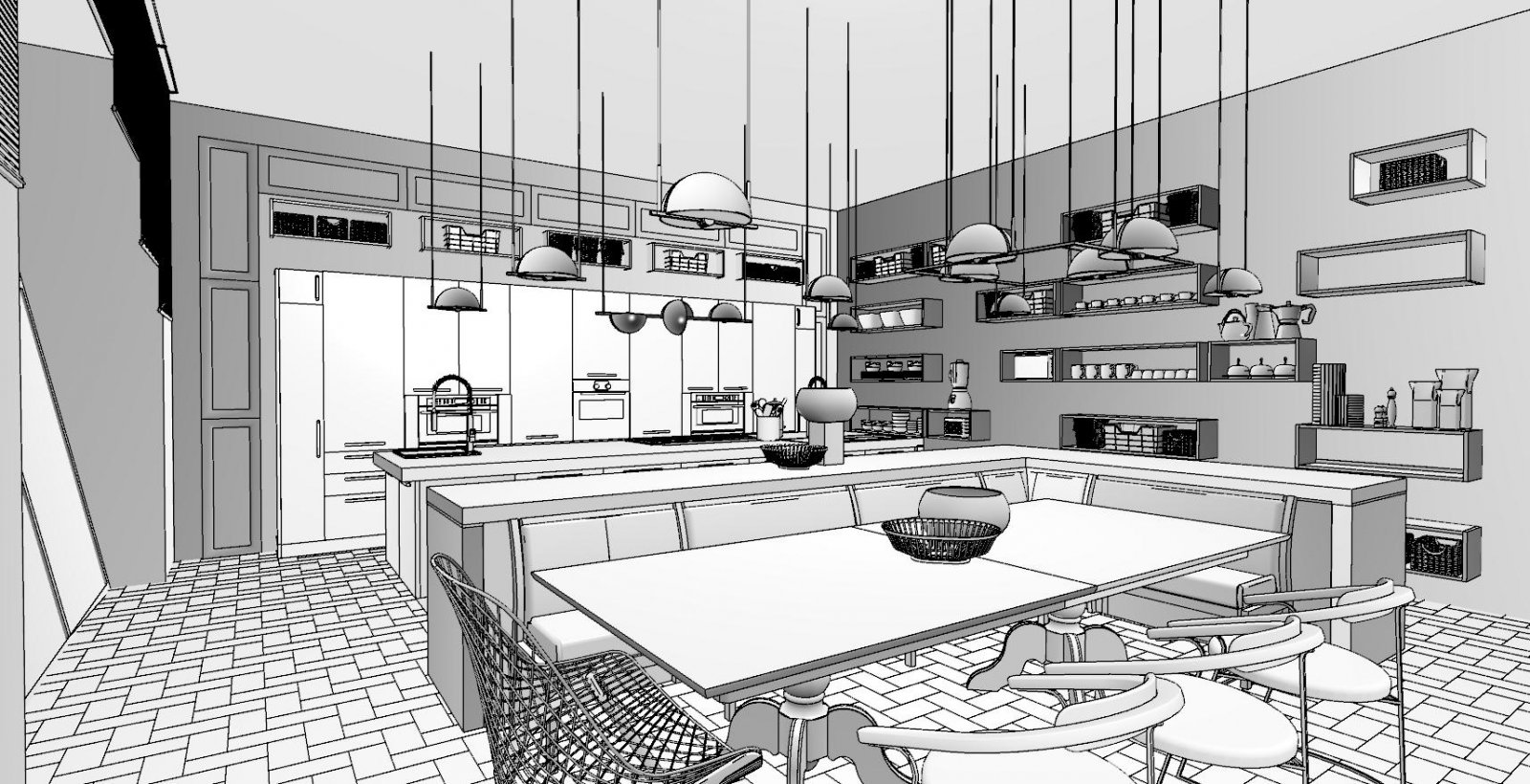 Interior Kitchen - Tech B&W