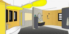 Retro Bathroom - Vector Perspective View Colour