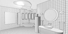 Retro Bathroom - Technical Perspective B&W